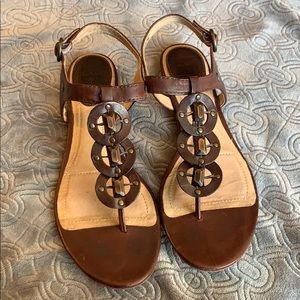 Frye Laurel Sling back leather flat sandal beaded